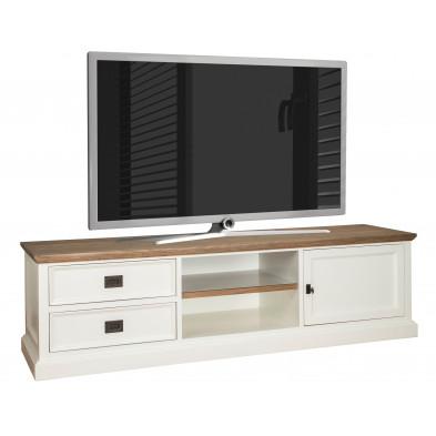 Meuble tv blanc contemporain en bois massif chêne et pin L. 180 x P. 45 x H. 50 cm  collection Cardiff Richmond Interiors