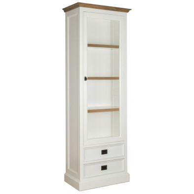 Vitrine blanc contemporain en bois massif chêne et pin  L. 70 x P. 40 x H. 200 cm  collection Cardiff Richmond Interiors
