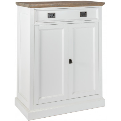 Buffet - bahut - enfilade design blanc contemporain en bois massif chêne  et pin L. 80 x P. 40 x H. 102 cm collection Cardiff Richmond Interiors