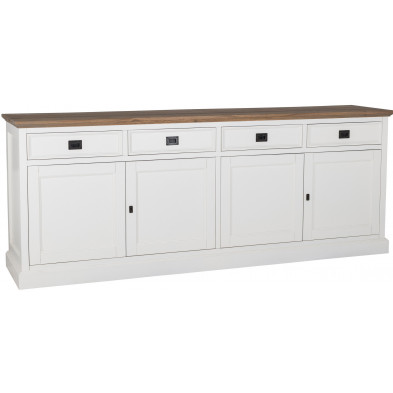 Buffet - bahut - enfilade blanc contemporain en bois massif chêne et pin L. 230 x P. 50 x H. 90 cm  collection Cardiff Richmond Interiors