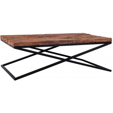 Table basse marron industriel en acier et bois massif L. 130 x P. 80 x H. 45 cm  collection Kensington-brillant Richmond Interiors