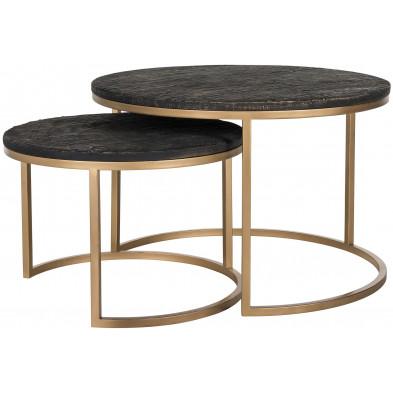 Table basse noir design avec le plateau en résine avec pieds en acier doré  L. 76 x P. 76-40 x H. 50 cm collection Belfort Richmond Interiors
