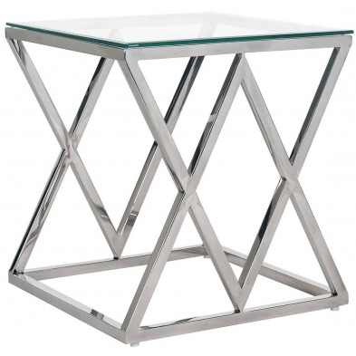 Table basse  argenté design en acier inoxydable et verre  L. 55 x P. 55 x H. 60 cm  collection Paramount Richmond Interiors