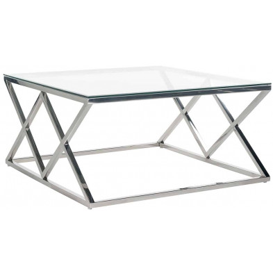 Table basse  argenté design en acier inoxydable et verre: L. 100 x P. 100 x H. 40 cm collection Paramount Richmond Interiors