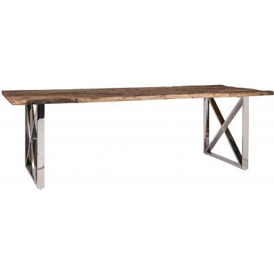 Table de salle à manger argenté rustique en acier inoxydable  bois L. 200 x P. 100 x H. 75 cm  collection Kensington-brillant Richmond Interiors
