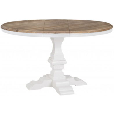 Table extensible blanc contemporain en bois massif chêne  L. 120 x P. 120 x H. 78 cm  collection Nancy Richmond Interiors
