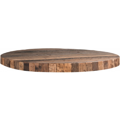 Plateau de table marron rustique en bois massif recyclé   L. 140 x P. 140 x H. 10 cm collection Bodhi Richmond Interiors
