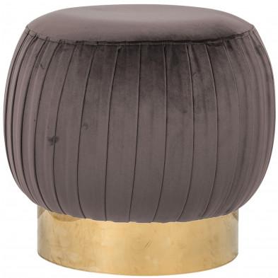 Pouf et tabouret taupe design en acier inoxydable L. 49.5 x P. 49.5 x H. 47 cm  collection Faye Richmond Interiors