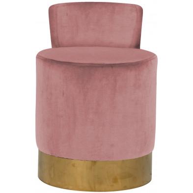 Pouf et tabouret rose design en acier inoxydable L. 43 x P. 46 x H. 65 cm collection Kaylee Richmond Interiors