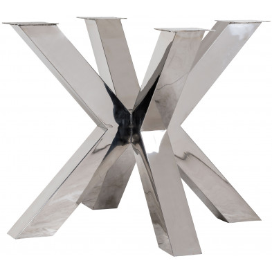 Pieds de table argenté industriel en acier inoxydable  L. 95 x P. 95 x H. 75 cm collection Bodhi-silver Richmond Interiors