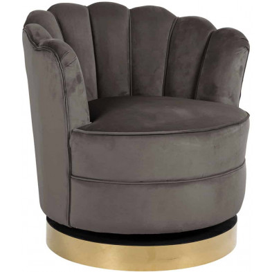 Fauteuil baroque taupe design en acier inoxydable L. 81.5 x P. 76 x H. 79 cm collection Mila Richmond Interiors