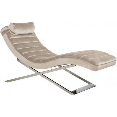 Canapé  relax beige design en acier inoxydable L. 60 x P. 161 x H. 80 cm collection Rossi Richmond Interiors
