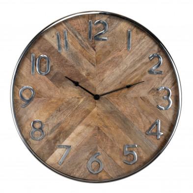 Horloge murale marron contemporain en acier L. 60 x P. 5 x H. 60 cm inoxydable collection Jayden Richmond Interiors