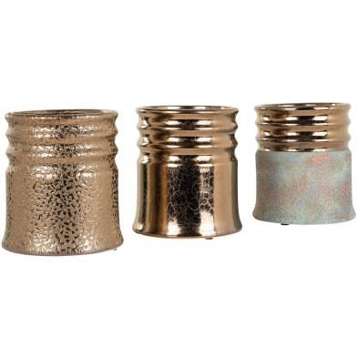 Lot de 3 Vases  or contemporain en céramique L. 18 x P. 18 x H. 20 cm collection Lara Richmond Interiors