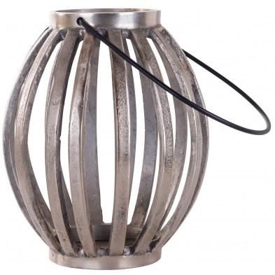 Bougeoir et chandelier gris contemporain en acier  L. 22 x P. 22 x H. 26 cm collection Lantern Richmond Interiors