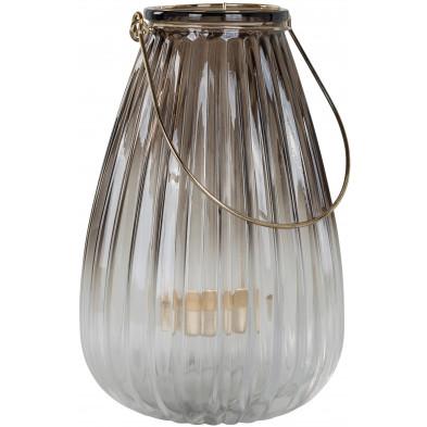 Bougeoir et chandelier marron moderne en acier L. 14.5 x P. 14.5 x H. 22 cm collection Lynn Richmond Interiors