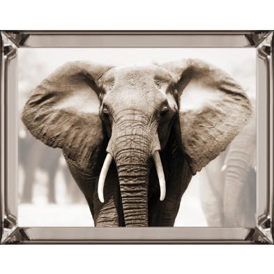 Tableau décoratif elephant beige design en miroir L. 80 x P. 5 x H. 60 cm collection Elephant Richmond Interiors