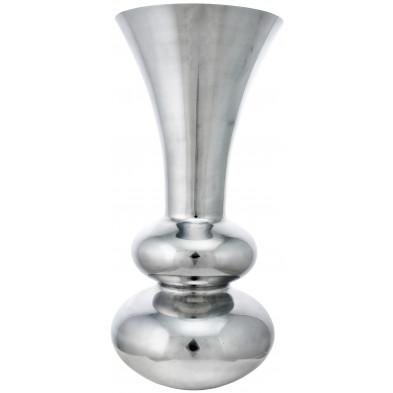 Vase argenté contemporain en aluminium  L. 28 x P. 28 x H. 60 cm collection Cormano Richmond Interiors