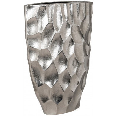Vase argenté contemporain en aluminium L. 38 x P. 18 x H. 50 cm collection Luc Richmond Interiors