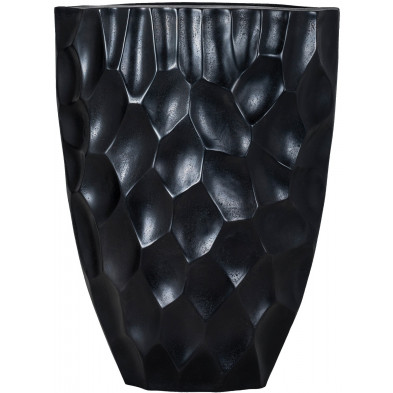 Vase noir contemporain en aluminium  L. 38 x P. 18 x H. 50 cm collection Morgan Richmond Interiors