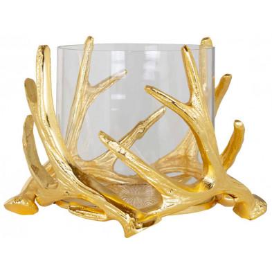 Bougeoir et chandelier or design en aluminium  L. 22 x P. 22 x H. 15 cm collection Harvey Richmond Interiors