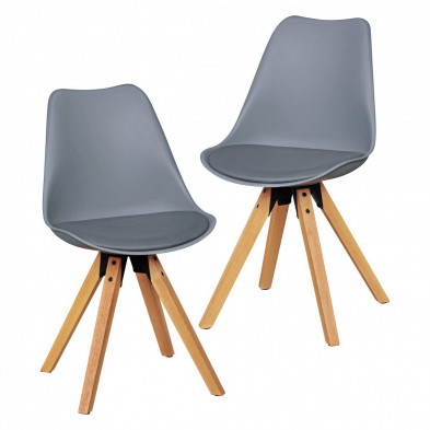 Lot de 2 Chaises de salle à manger moderne Gris Scandinave en L. 48 x P. 42 x H. 87 cm collection Mirjam