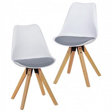 Lot de 2 Chaise moderne Blanc Scandinave en Plastique L. 48 x P. 42 x H. 87 cm collection Mirjam