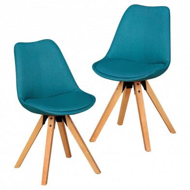 Lot de 2 Chaises de salle à manger moderne Bleu Scandinave en Bois massif L. 48 x P. 42 x H. 87 cm  collection Mirjam