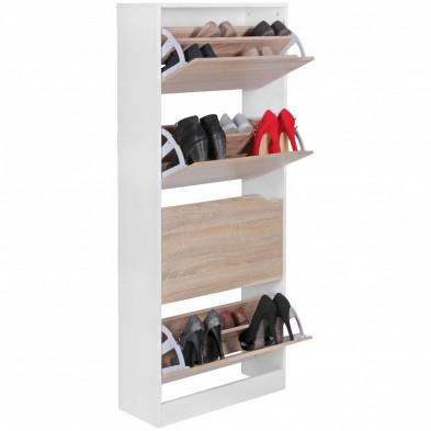 Meubles chaussures blanc design en panneaux de particules de haute qualité L. 60 x P. 24 x H. 150 cm collection Giny