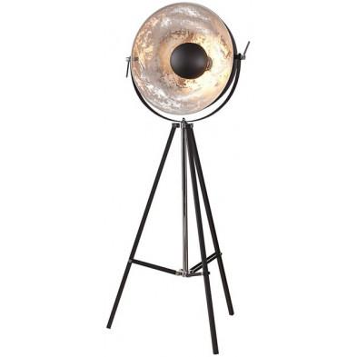 Lampadaire L. 55 x H. 160 cm x D. 50 cm moderne en acier inoxydable et en aluminium coloris noir et argenté collection Boucagrande
