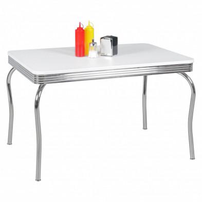 Table design blanc vintage en aluminium L. 120 x P. 80 x H. 76 cm collection Santegoets