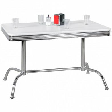 Table de salle à manger vintage en aluminium avec plateau en bois MDF L. 120 x P. 80 x H. 76 cm collection Santegoets
