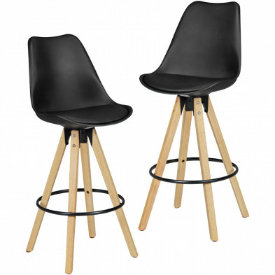 Lot de 2 Tabouret de bar noir scandinave en 46 cm de largeur L. 46 x P. 46 x H. 112 cm collection Ringo