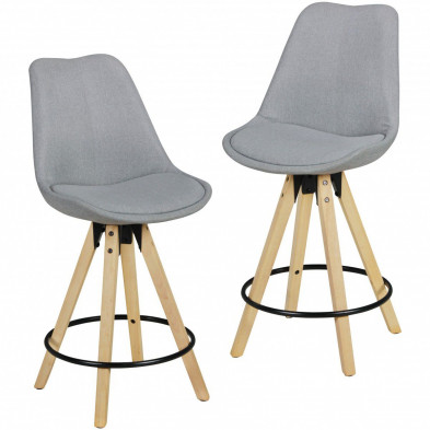 Lot de 2 Tabouret de bar gris scandinave en bois massif 46 cm de largeur L. 46 x P. 46 x H. 112 cm collection Ringo