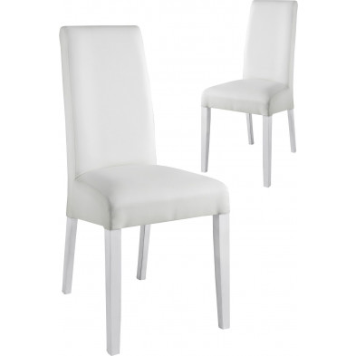 Lot de 2 Chaises de salle à manger moderne Blanc Design L. 48 x P. 48 x H. 100 cm collection Ursem