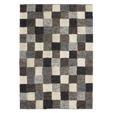 Tapis moderne tissé à la main en laine coloris beige L. 150 x P. 80 x H. 1,4 cm Collection Schoneworde