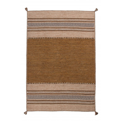 Tapis en laine marron vintage tissé à la main en coton L. 170 x P. 120 x H. 0,8 cm collection Childers