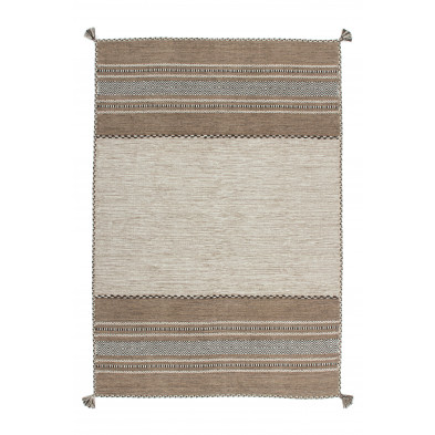 Tapis vintage tissé à la main en coton coloris beige L. 230 x P. 160 x H. 0,8 cm Collection Childers