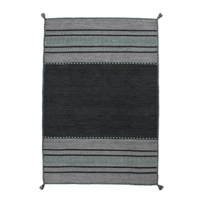 Tapis vintage tissé à la main en coton coloris gris L. 170 x P. 120 x H. 0,8 cm Collection Childers
