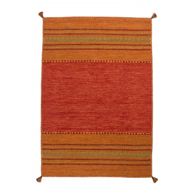 Tapis vintage tissé à la main en coton coloris orange L. 230 x P. 160 x H. 0,8 cm Collection Childers