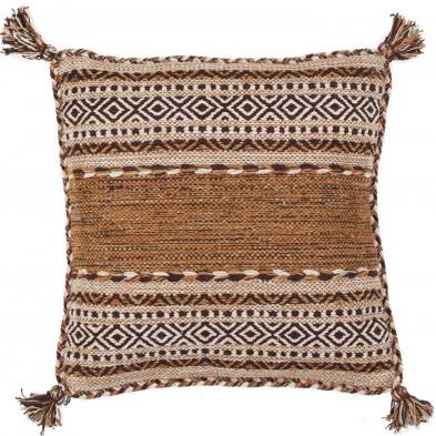 Coussin et oreiller marron vintage tissé à la main en coton L. 45 x P. 45  cm collection Childers