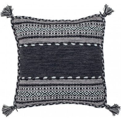 Coussin et oreiller gris vintage tissé à la main en coton L. 45 x P. 45 cm collection Childers