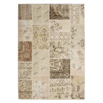 Tapis moderne tissé à la main en laine coloris beige L. 170 x P. 120 x H. 0,8 cm Collection Nidderau