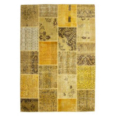 Tapis en laine jaune et or moderne tissé à la main avec des motifs ethnique L. 230 x P. 160 x H. 0,8 cm Collection  Nidderau