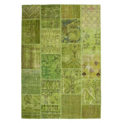 Tapis en laine vert moderne tissé à la main avec des motifs ethnique L. 290 x P. 200 x H. 0,8 cm Collection Nidderau