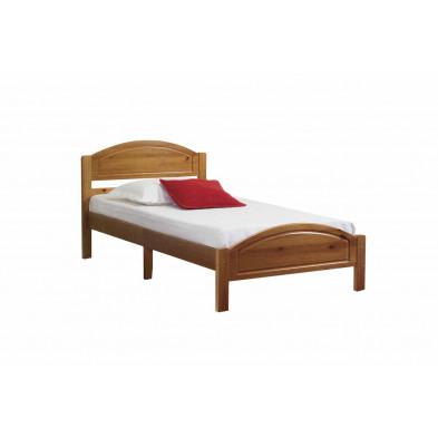 Lit 140x190 cm adulte contemporain marron en bois massif collection Inherit