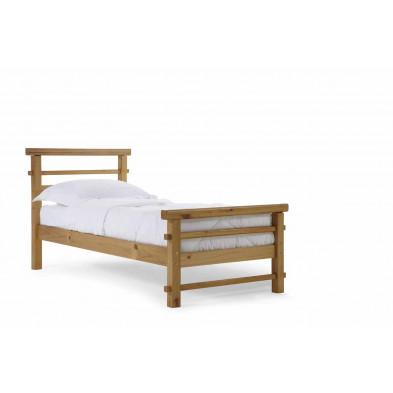 Lit 90x160 cm contemporain en bois massif marron collection Jacquenett