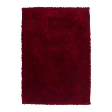 Tapis moderne shaggy rouge en polyester L. 150 x P. 80 x H. 4 cm Collection Dorstadt