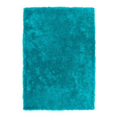 Tapis shaggy conception bleu moderne tissé à la machine en polyester L. 290 x P. 200 x H. 4 cm Collection Dorstadt