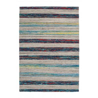 Tapis retro & patchwork bleu vintage tissé à la main en 60% laine + 20% coton et 20% soie artificielle L. 170 x P. 120 x H. 1,6 cm collection Sobreda